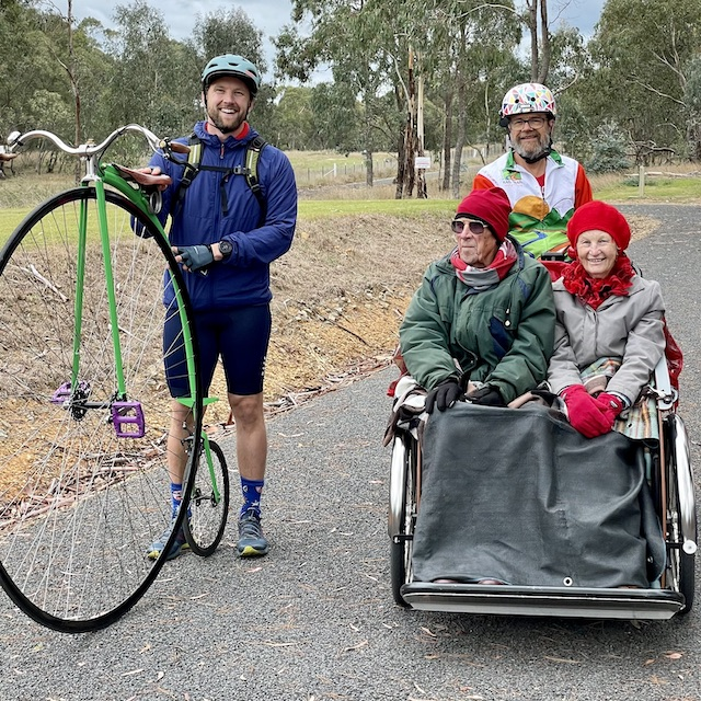 Cycling Without Age trike meets penny farthing